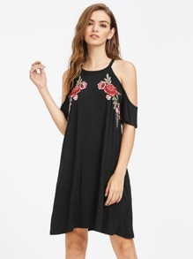 Symmetric Embroidery Patch Open Shoulder Swing Dress