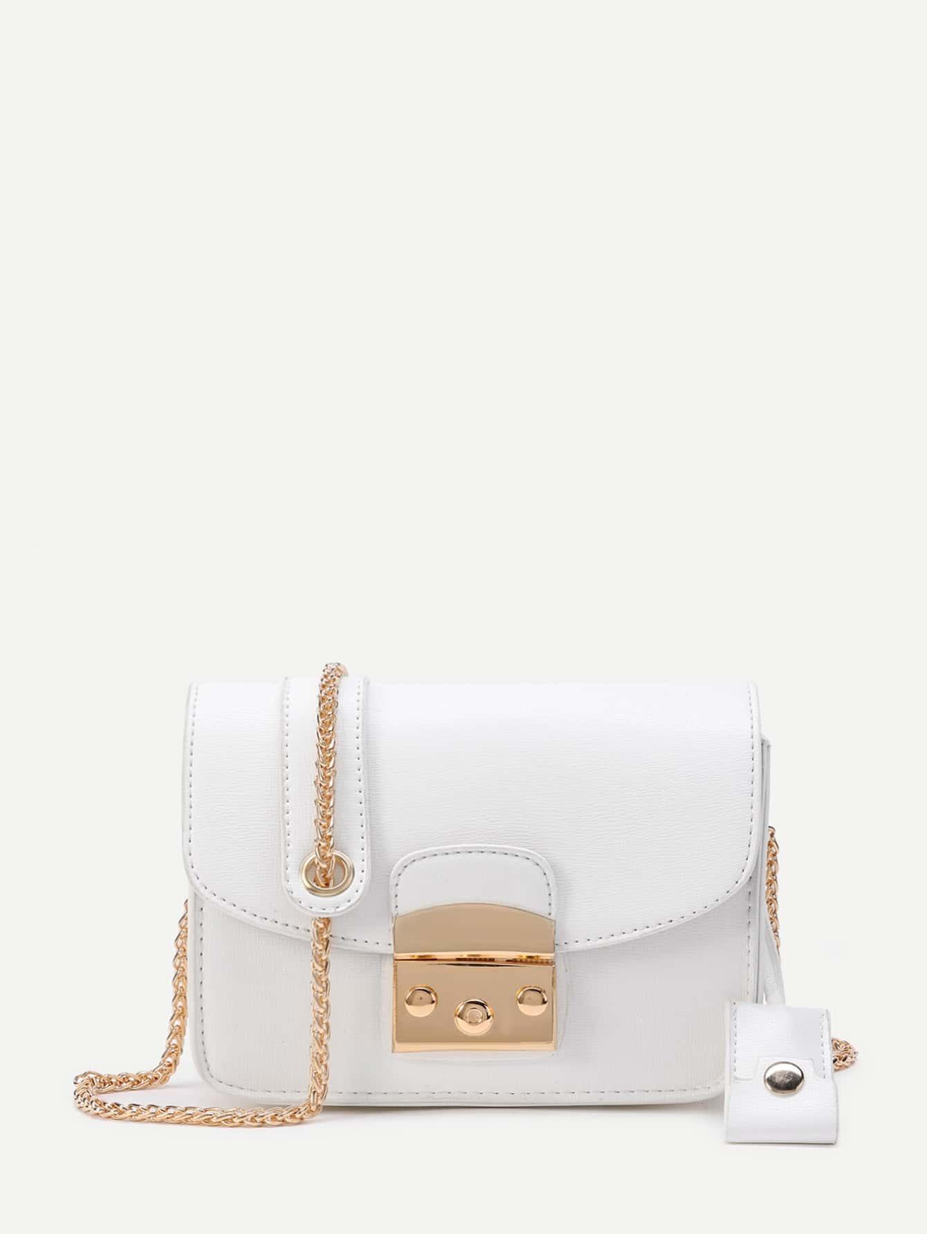 Фото Lock Flap Crossbody Bag With Chain. Купить с доставкой
