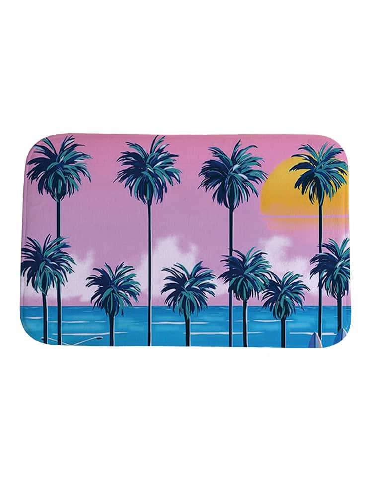 Фото Seaside & Palm Tree Print Carpet. Купить с доставкой