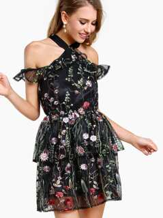 X Front Layered Floral Embroidered Dress BLACK