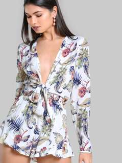Tropical Print Plunging Knot Front Playsuit
