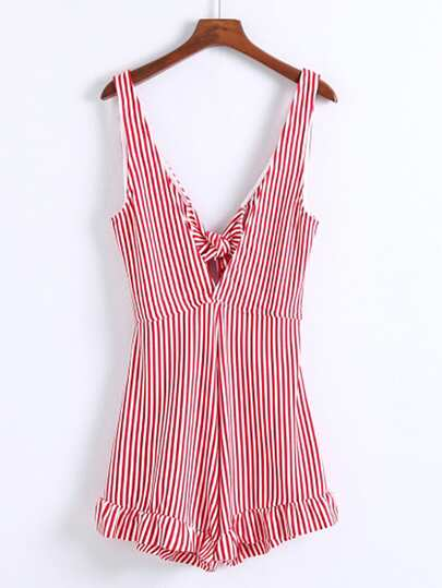 Plunge Bow Tie Open Back Playsuit