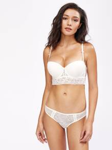 Lace Insert Push Up Underwire Set
