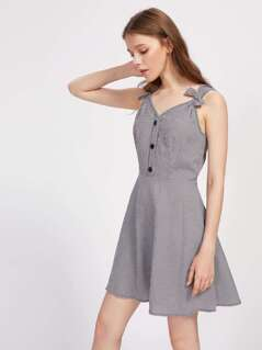 Bow Strap Open Back Gingham Dress