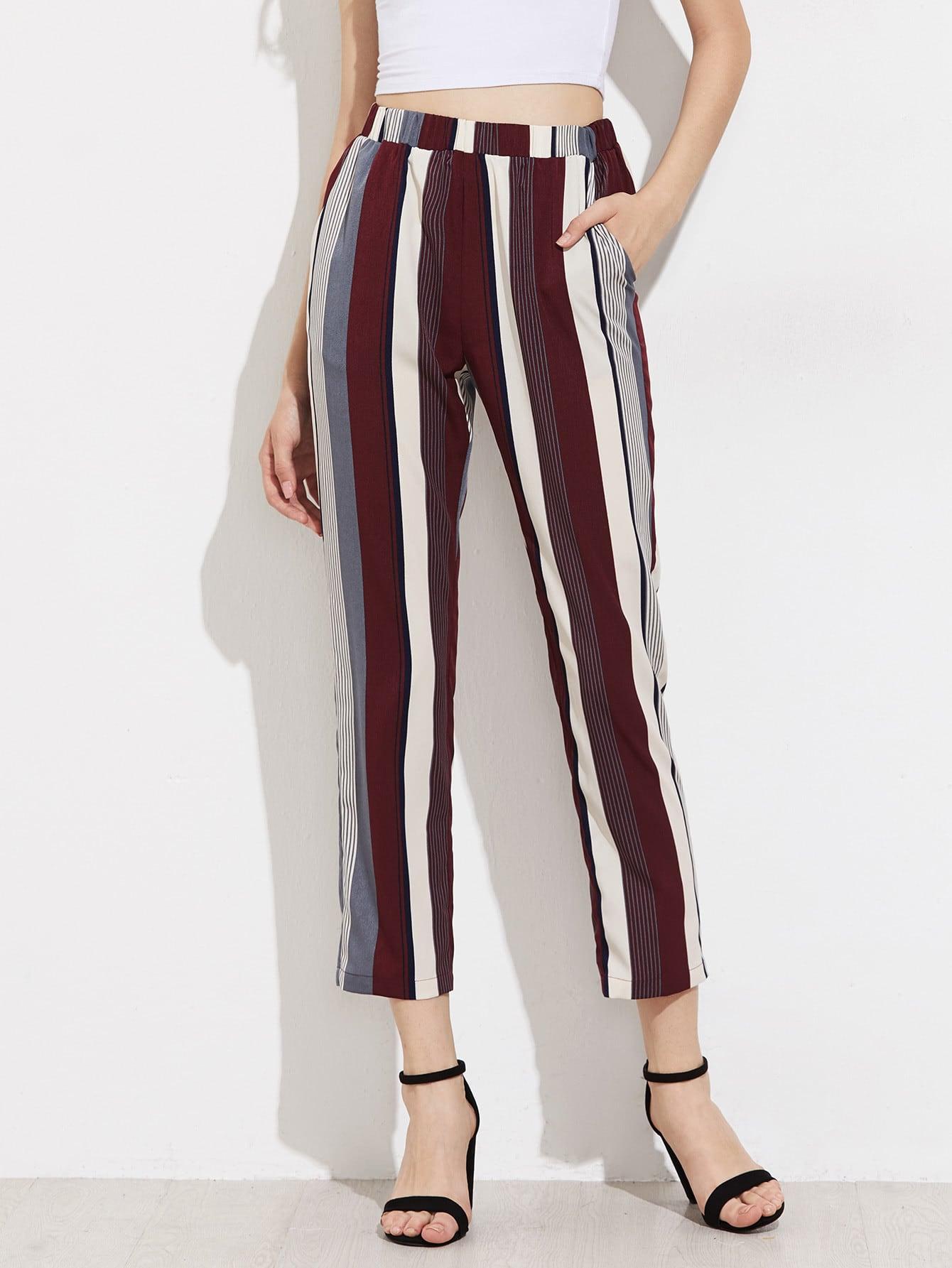 Фото Mixed Stripe Cropped Pants. Купить с доставкой