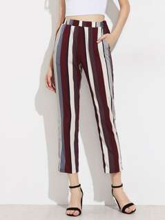 Mixed Stripe Cropped Pants