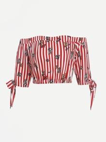 Vertical Striped Bow Tie Cuff Top