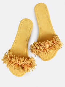 Fringe Slip On Slides YELLOW