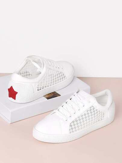 Star Patch Mesh Design Lace Up Sneakers