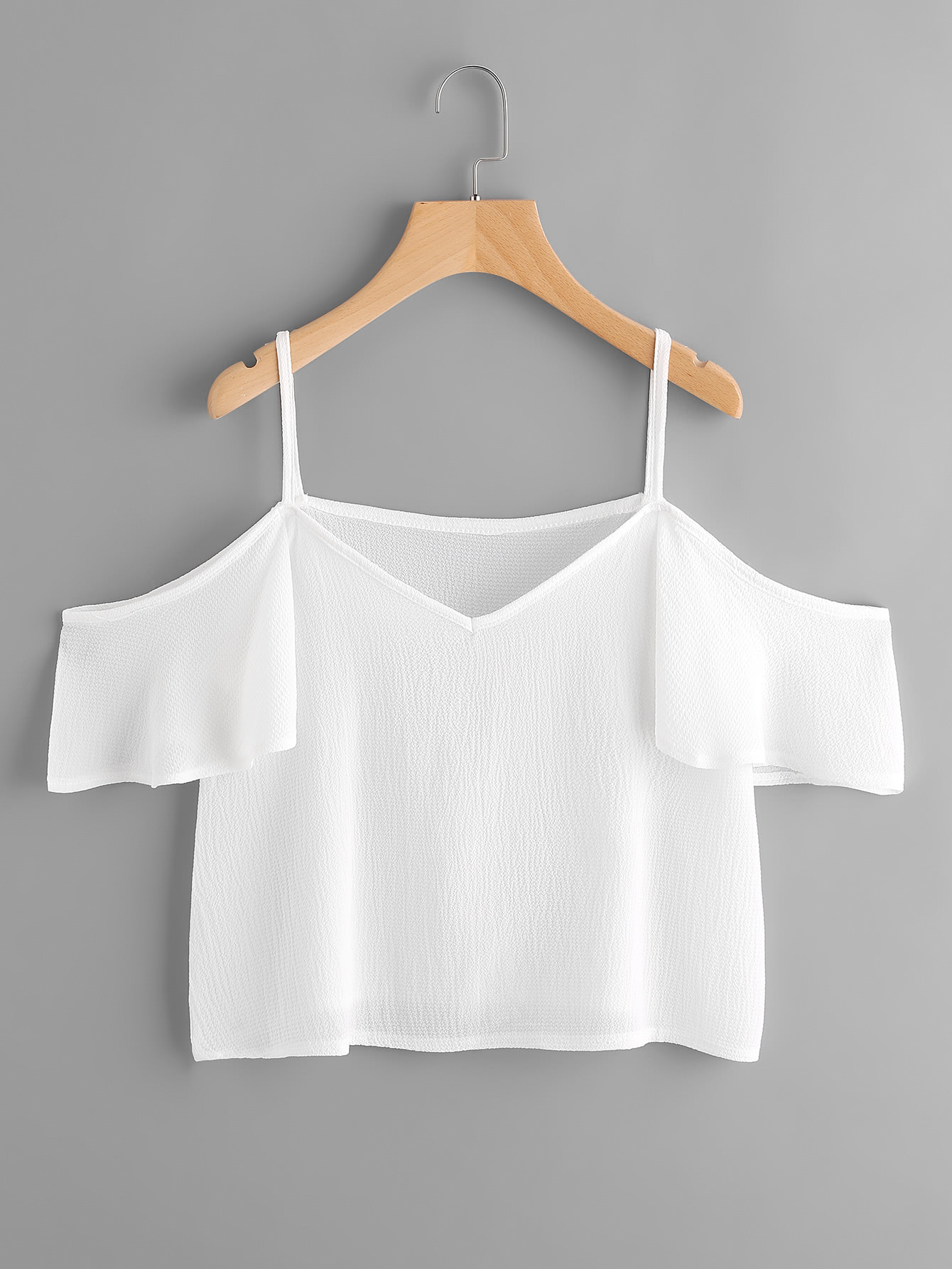 Cold Shoulder Frill Sleeve Top oblique shoulder layered frill ditsy top
