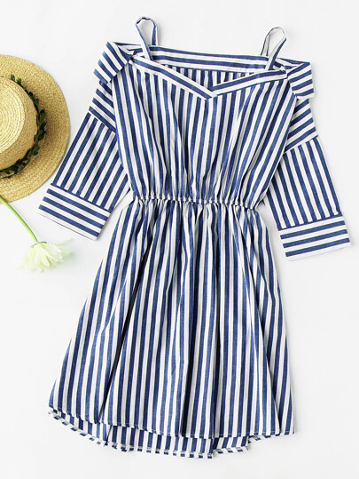 Open Shoulder Foldover Stripe Dip Hem Dress