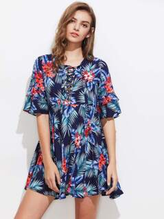 Lace Up Plunge Neck Frill Sleeve Tropical Dress