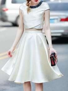 Beading Neck Top With A-Line Skirt