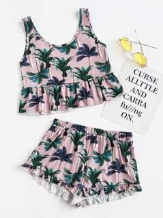 Coconut Tree Print Frilled Tank And Shorts Pajama Set