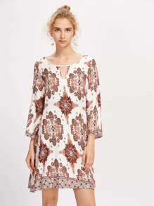 Tribal Print Cut Out Detail Shift Dress