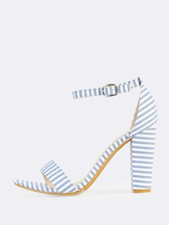 Striped Ankle Stripe Heels BLUE WHITE