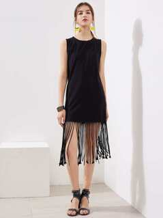 Fringe Trim Muscle Dress