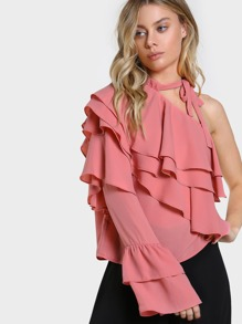 One Shoulder Layered Ruffle Top