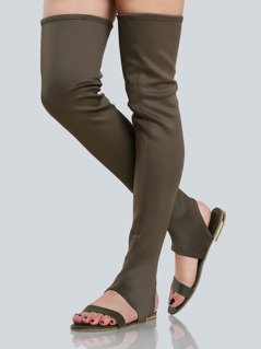 Slip On Thigh High Sandals OLIVE