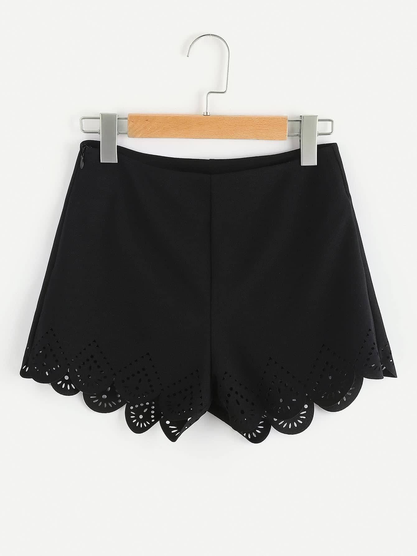 Zip Side Laser Cut Scallop Hem Tailored Shorts