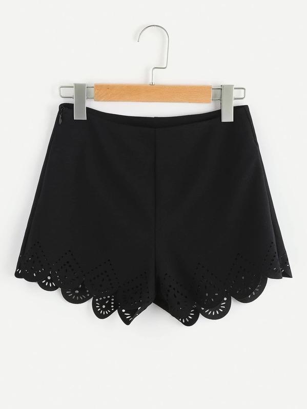 Zip Side Laser Cut Scallop Hem Tailored Shorts, null