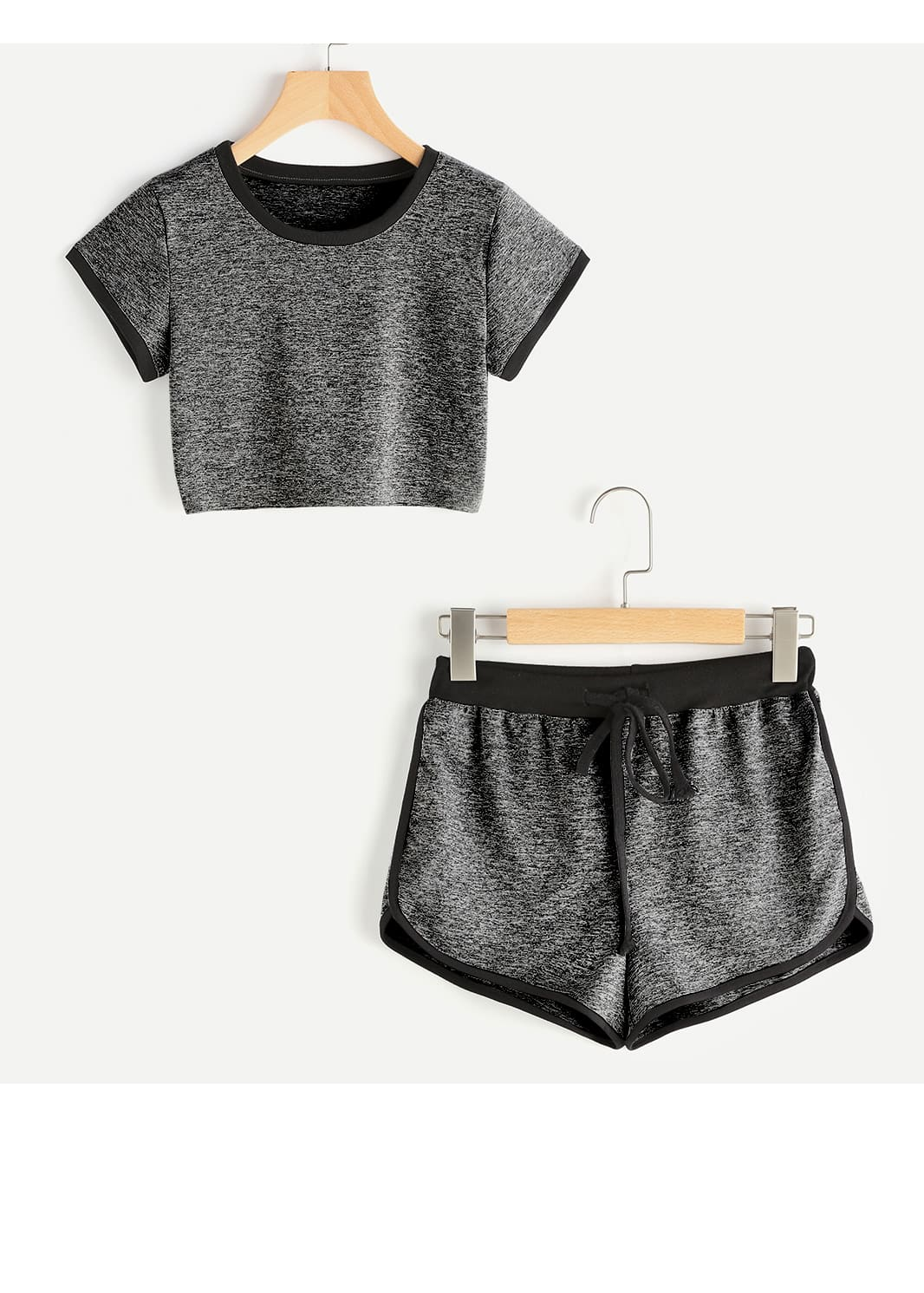 Ringer Slub Tee With Drawstring Waist Shorts