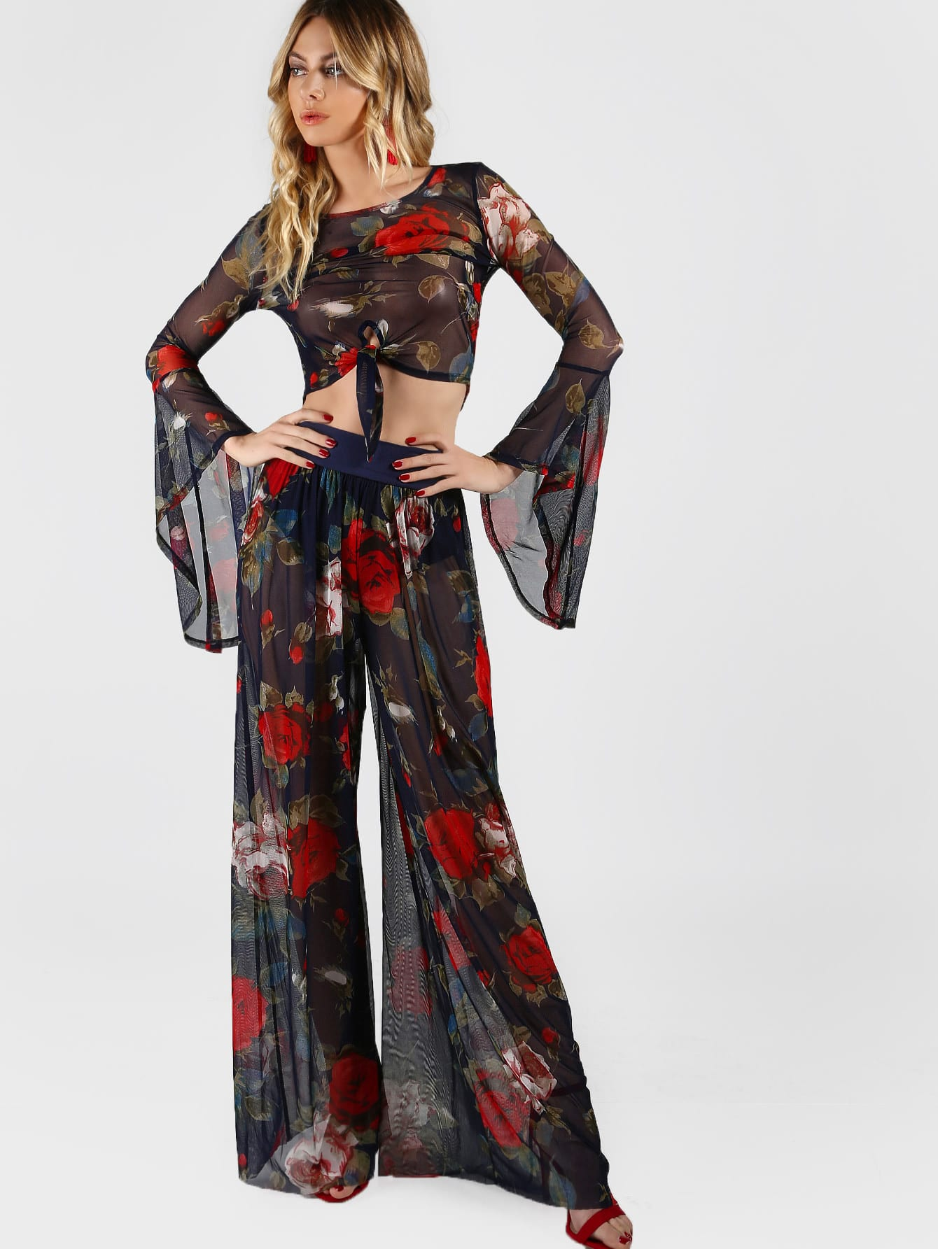 Фото Exaggerated Sleeve Knot Floral Top And Wide Leg Pants Co-Ord. Купить с доставкой