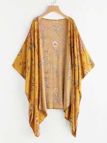 Kimono avec pan asymétrique imprimé fleur random