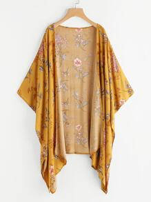 Floral Print Random Asymmetric Hem Kimono