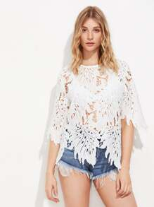 Hollow Out Leaf Lace Top