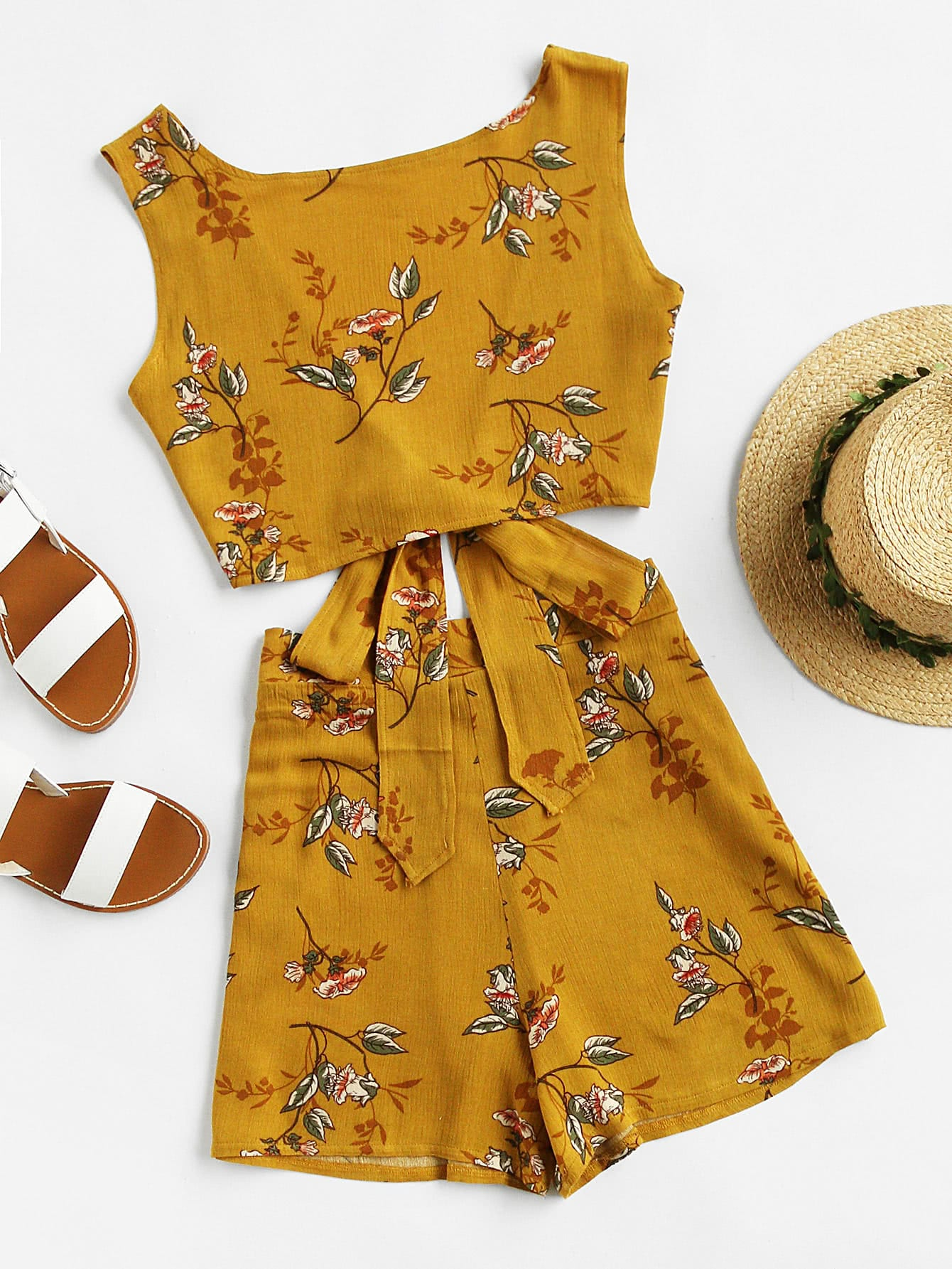 Floral Print V Back Tie Multiway Top With Shorts
