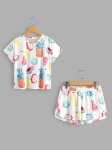 Conjunto de pijama con estampado y bajo irregular
