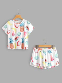 Fruits Print Top And Dolphin Shorts Pajama Set