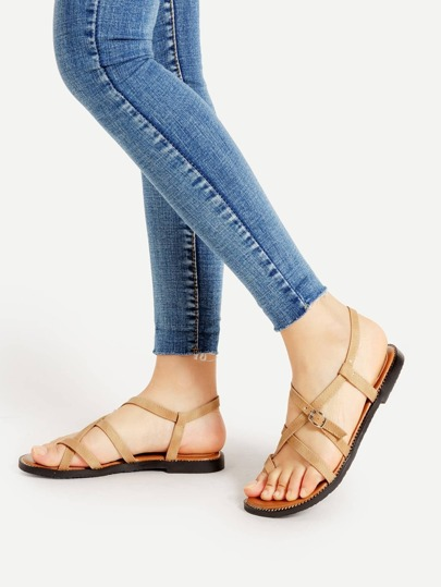 Toe Post Strappy PU Sandals