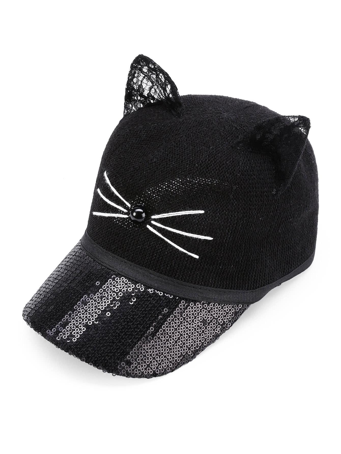 Cat Ear Sequin Baseball Hat