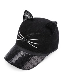 Cat Ear Sequin Baseball Hat