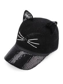 Gorro con estilo de béisbol con oreja de gato con lentejuelas