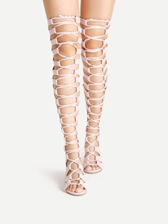 Ladder Cutout Zipper Back Gladiator Sandals