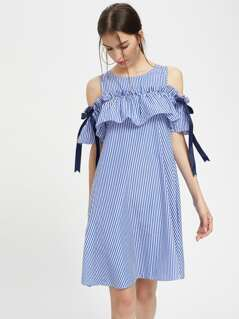Frill Cold Shoulder Bow Detail Swing Dress