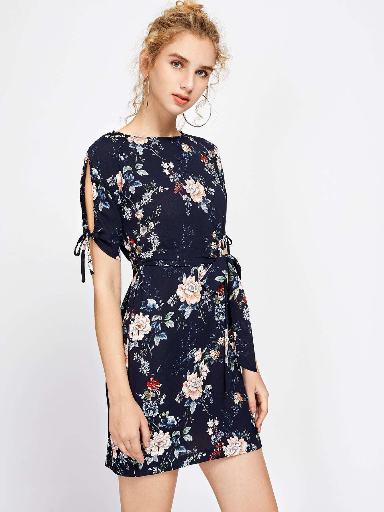 Floral Print Tie Sleeve Dress With Self Tie