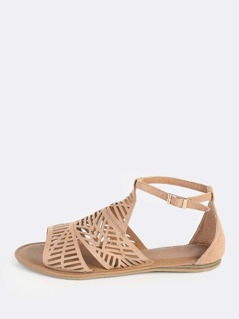 Faux Suede Shield Sandals CAMEL