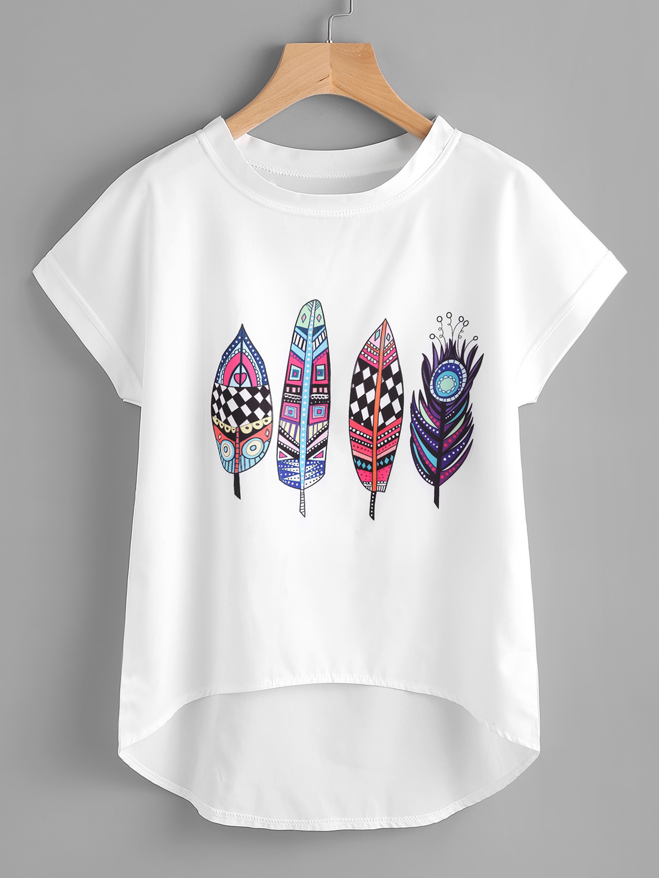 Aztec Feather Print Dip Hem Chiffon Top new handmade rosewood oblique calligraphy copperplate script feather dip pen