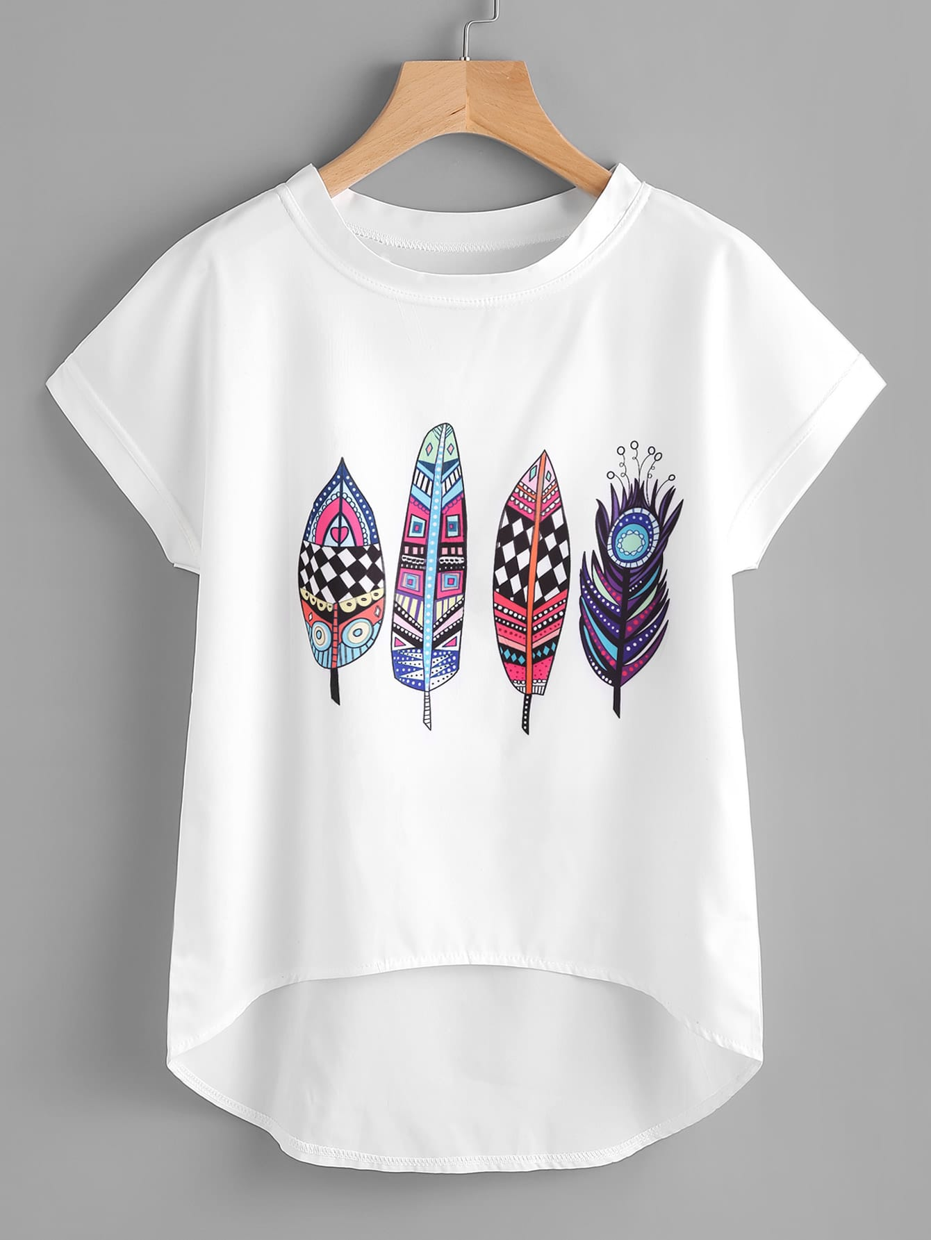 Aztec Feather Print Dip Hem Chiffon Top all over feather print dip hem chiffon top