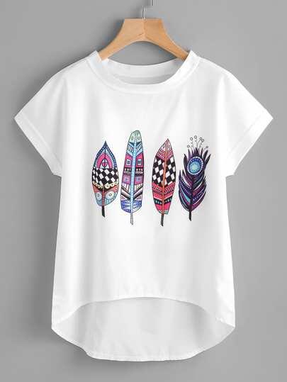 Aztec Feather Print Dip Hem Chiffon Top