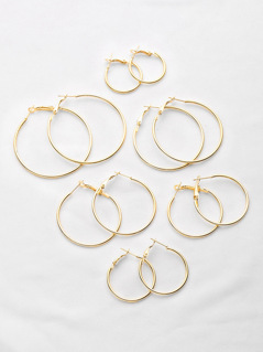 Plated Hoop Earrings Set 6pairs