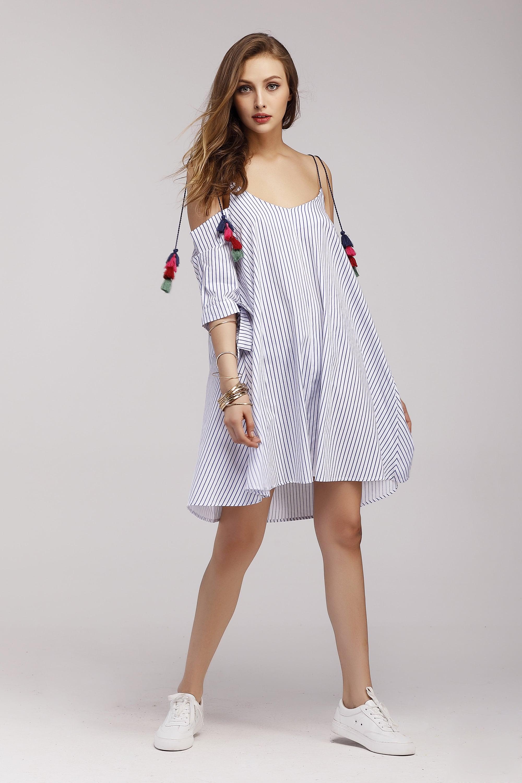 Vertical Pinstripe Tassel Tie Cold Shoulder Dress dress170614108
