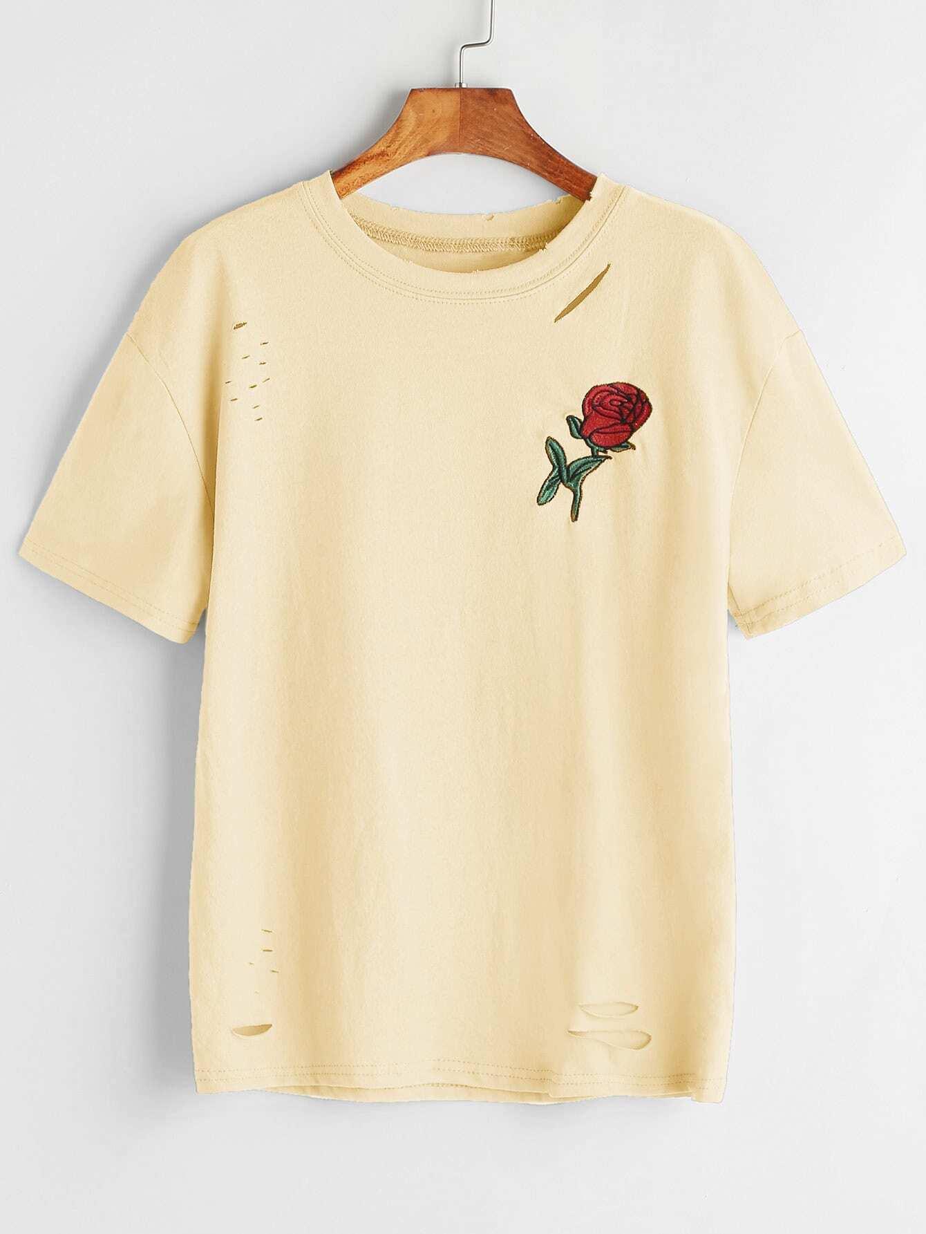 Фото Rose Embroidered Patch Slashed Tee. Купить с доставкой