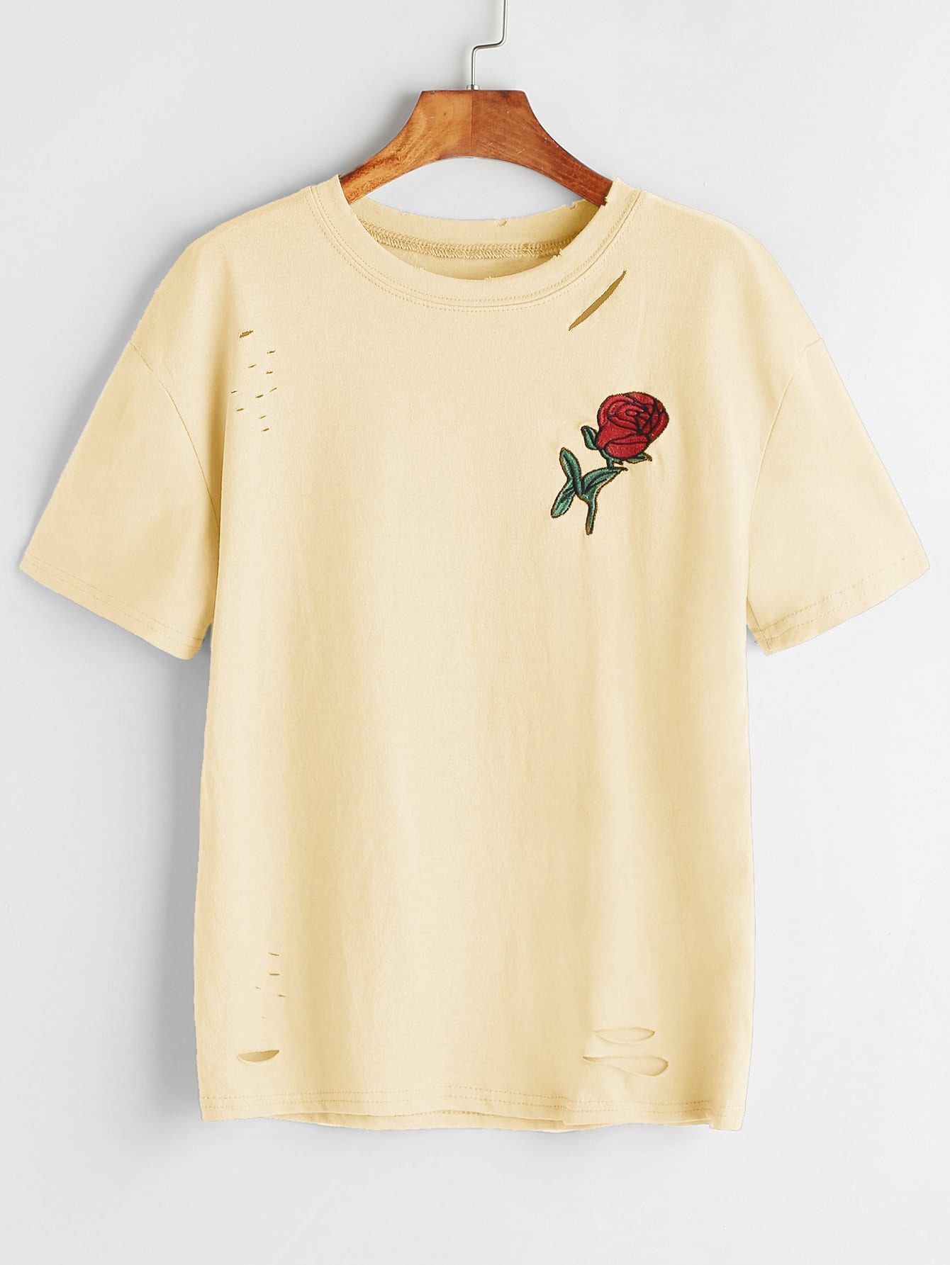Rose Embroidered Patch Slashed Tee