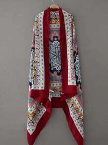 Tribal Print Scarf With Fringe