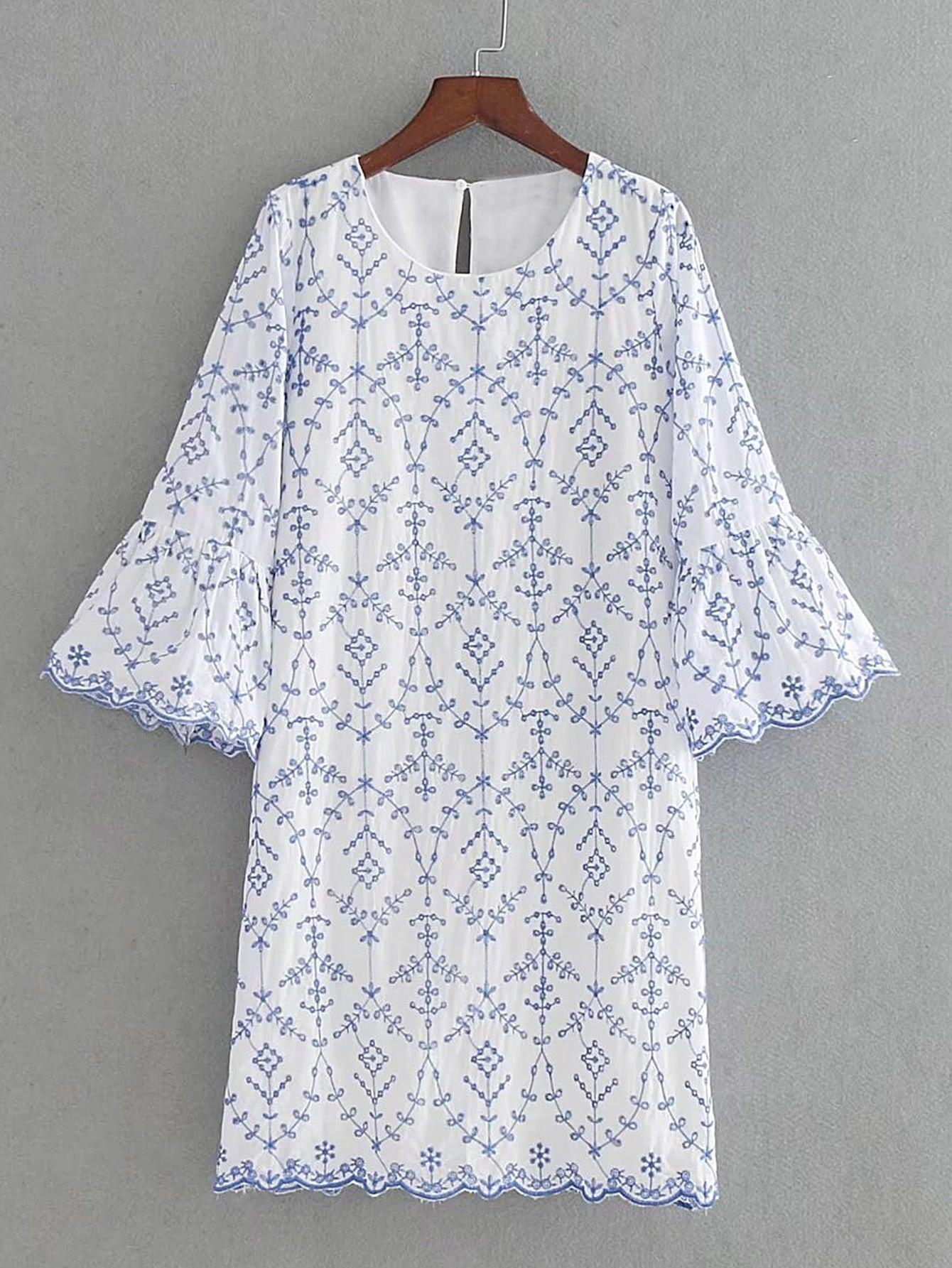 Фото Bell Sleeve Wave Trim Embroidery Dress. Купить с доставкой